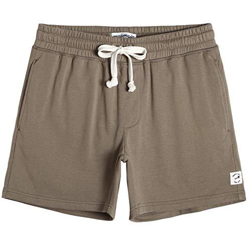 maamgic Mens Athletic Gym Shorts 5.5' Elastic Waist Casual Pajama Pocket Jogger Men Workout Short Pants Khaki