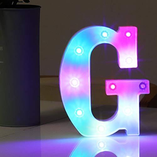 Alphabet-Symbol, batteriebetrieben, bunt, dekoratives Nachtlicht für Kinder, Geschenk, Hochzeit, Geburtstag, Party, Dekoration (Buchstabe G)