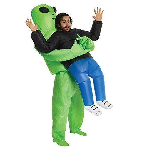 2019000000 Halloween Grüne Geist, der aufblasbare Kostüme lustige Show halten Requisiten aufblasbare Ausländer ET Halloween-Kostüm Vibrato gleichen Absatz Geeignet für Thema-Partei Karneval Nacht