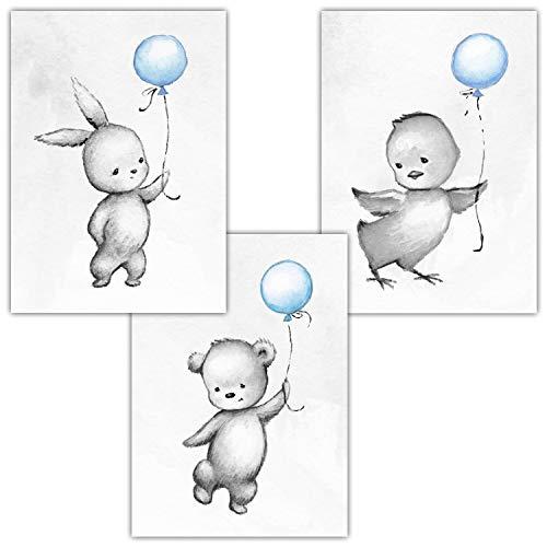 Frechdax® 3er Set Kinderzimmer Poster Babyzimmer DIN A4 ohne Bilderrahmen | Mädchen Junge | Kinderposter Kunstdruck im skandinavischen Stil | schwarz/Weiss oder bunt | (Set-24)