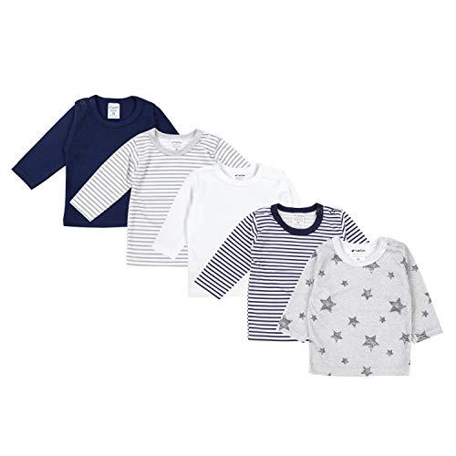 TupTam Baby Jungen Langarmshirt Gestreift 5er Set, Farbe: Mehrfarbig 6, Größe: 68
