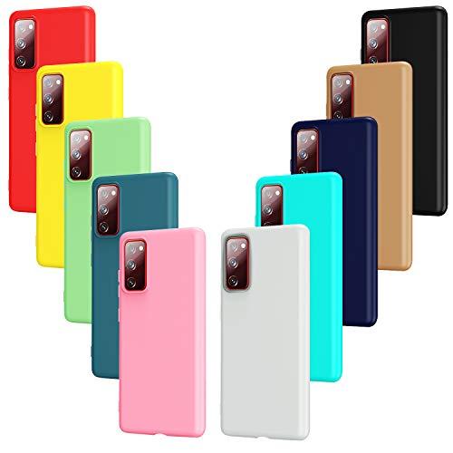 ivoler 10x Hülle für Samsung Galaxy S20 FE (5G), Ultra Dünn Tasche Schutzhülle Weiche TPU Silikon Handyhülle Hülle Cover (Schwarz, Grau, Dunkelblau, Himmelblau, Blau, Grün, Rosa, Rot, Gelb, Braun)