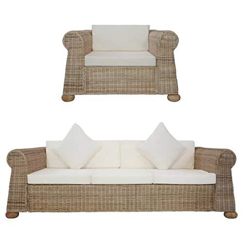 vidaXL Sofagarnitur 2-TLG. mit Auflagen Couch Sessel Sofa Loungesofa Sitzmöbel Wohnzimmersofa Rattansofa Couchgarnitur Designsofa Natur Rattan