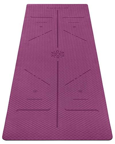 Ewedoos Yogamatte rutschfest mit Ausrichtungslinien umweltfreundliches TPE Yogamatten mit Tragegurt Ideal Yoga Mat Übungsmatte für Yoga Pilates Fitness (Lila)