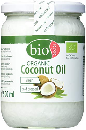 BIOASIA Bio Kokosöl, kaltgepresst, naturbelassen ohne Zusatzstoffe, veganes Fett zum Kochen, Braten und Backen, auch als Naturkosmetik verwendbar, 100 % Bio, 500 ml