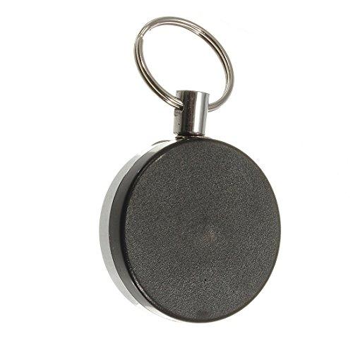 TOOGOO(R) Llavero metalico retractil tarjeta de Soporte de la insignia de acero Llavero clip de traccion de la banda de anillo de retroceso