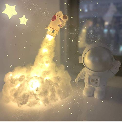 Creative LED Astronaut Clouds Night Light with Rainbow Effect Ornaments DIY Handmade Bedroom Decoration Beautiful Color Home Decoration Wonderful Gift for Children and Adults