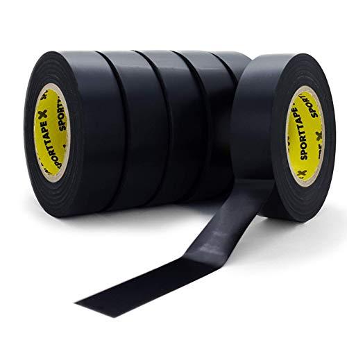SPORTTAPE Sockenband - Schwarz - Packung mit 6 bis 1,9 cm x 20 m - PVC Football Soccer Rugby Boot Tape - Am besten zum Aufrechterhalten von Socken, Schienbeinschonern und Schienbeinschoner