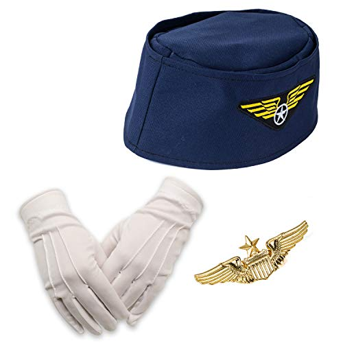 Tigerdoe Stewardess Hut - Flugbegleiterin Kostüm - Flugbegleiterin - Cabin Crew - 3 Stück - Damenkostüme