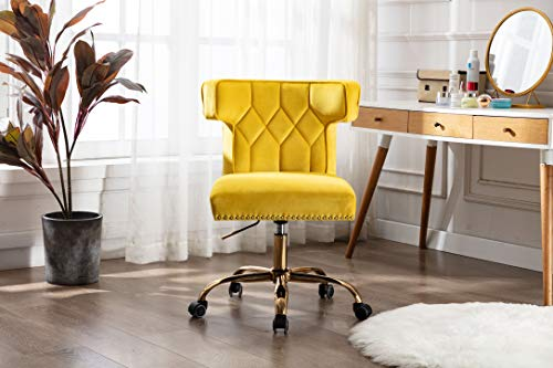 Swivel Wingback Chair with Wheels, Modern Velvet Fabric Computer Desk Chair for Living Room/Bedroom (Yellow)
