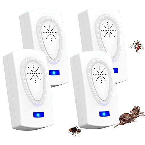 WARDBES Repelente por ultrasonidos electromagnético eficaz, 2021, repelente para mosquitos, ratones, hormigas, moscas, arañas, cucarachas, 100% profesional y eficaz, versión actualizada (paquete de 4)