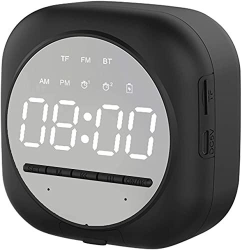 Altavoz Bluetooth , Reloj Despertador Digital Con Altavoz Bluetooth Inalámbrico, Pantalla Led Recargable Usb, Radio FM HI-FI Sonido Estéreo (Negro)