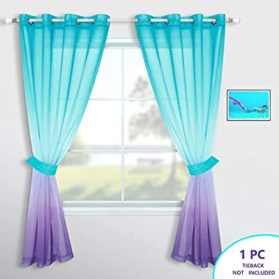 Lilac and Turquoise Curtains for Girls Room Decor Set of 1 Panel Grommet Window Voile Sheer Drapes Purple Teal Ombre Curtains for Bedroom Girls Decorations Kids Mermaid Nursery 52 x 84 Inch Length
