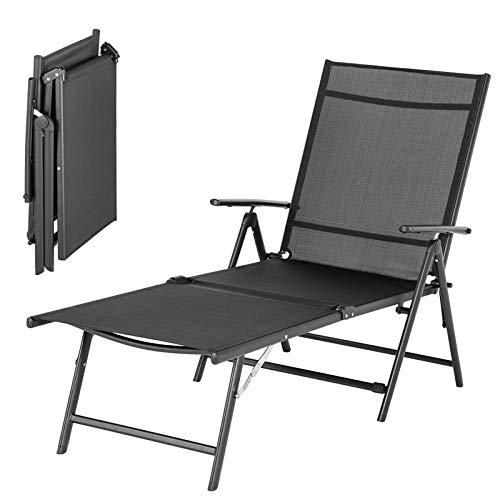 YODOLLA Foldable Reclining Sun Lounger, Textiline Garden Loungers Reclining Garden Chair with 7 Back & 2 Leg Adjustable Positions (Black)