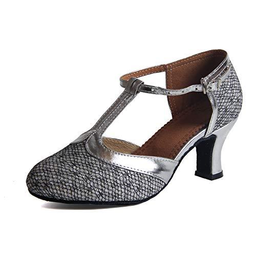 Syrads Zapatos de Baile Latino para Mujer Salsa Zapatos de Baile de Salón Tango Samba Vals Plata Tacon 6cm