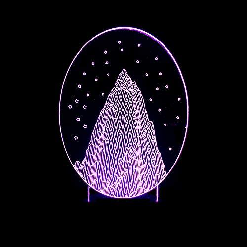 BFMBCHDJ Acryl 3D Nachtlicht Snow Mountain 3D LED Kunstlicht Sieben Farben Licht 3D Visuelles Geschenk Kleine Tischlampe A4 Weiß Riss Basis + Fernbedienung
