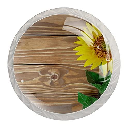 Perillas del gabinete 4pcs Tiradores vidrio cristal,Flores en madera ,para puerta mueble abierta o cajón