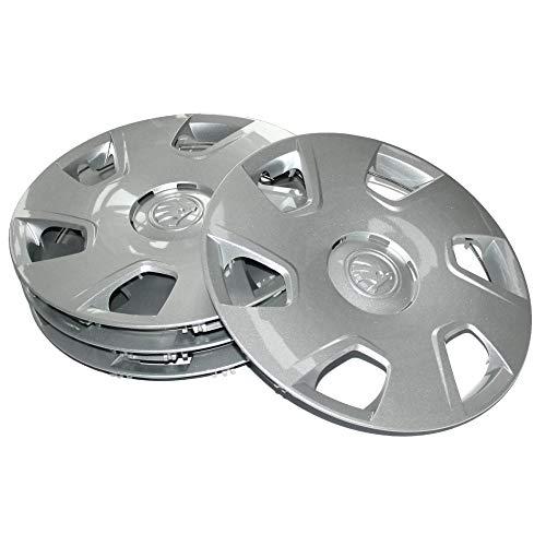 Skoda 5JA071455 Radkappen (4 Stück) Radblenden Dakara 15 Zoll Radzierblenden, für 6Jx15 Stahlfelgen, Silber