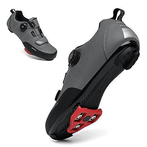 KUXUAN Zapatillas de Ciclismo para Hombre, Bicicleta de Carretera, MTB, Zapatillas de Bicicleta con Tacos, montaña Luminosa, Interior, Bicicleta de Carretera, Zapatos de Ciclismo,Grey-42EU