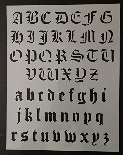 Reusable Sturdy Stencil Old Olde English Alphabet 8.5' x 11' Sheet Logo Cut Stencil Sheet (not Paper) Arts and Crafts Material Scrapbooking for Airbrush Painting Drawing