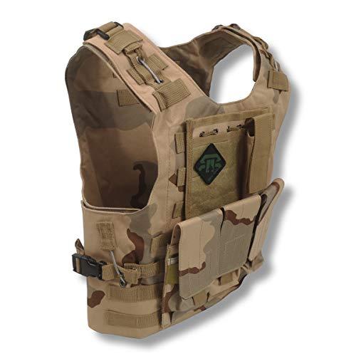 REX RAW  – Chaleco de combate táctico tipo militar – 3 elementos sistema Molle incluido + funda – para reportar fotos, camping, caza, airsoft, paintball, Trekking Survivalismo Urbex (Dune)