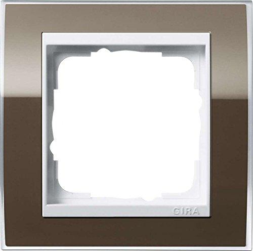 Gira 0211763 Abdeckrahmen 1-Fach Event klar braun mit reinweißem Zwischenrahmen