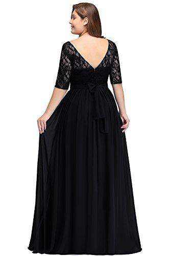 Misshow Damen Übergröße Abendkleid Spitze Chiffon mit Ärmel Elegant Lang Ballkleid , Schwarz, 54
