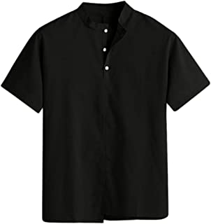 Benficial Men's Baggy Cotton Linen Solid Stand Collar Short Sleeve T Shirts Tops Blouses