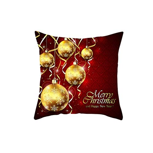 GDBEST Merry Christmas Cushion Cover Cartoon Letter Print Theme Pillow Cover Waist Throw Pillow Cover Creative Funny Colorful Pillowcase for Sofa Cafe Couch Home Decor Gifts Pillow Case(18' x 18')