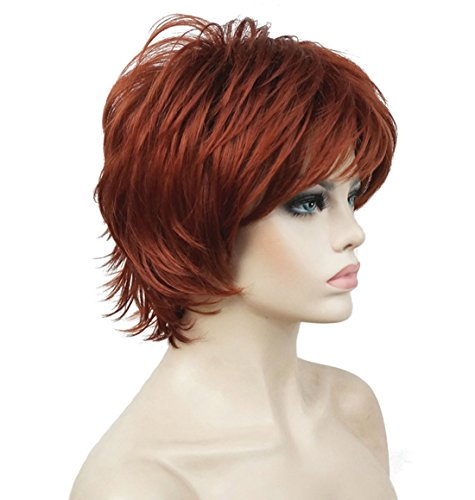 Lydell Short Layered Shaggy Wavy Full Synthetic Wigs 130 Copper Red