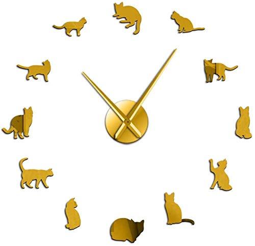 Sala de estar reloj de pared silueta gato arte de la pared gatito reloj de pared gigante gato juguetón aguja grande habitación de niña gato reloj de pared grande decoración de regalo de gato gato