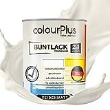 colourPlus®� 2in1 Buntlack (750ml, RAL 9001 Cremeweiß) seidenmatter Acryllack - Lack für Kinderspielzeug - Farbe für Holz - Holzfarbe Innen - Made in Germany