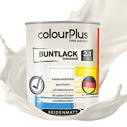 colourPlus® 2in1 Buntlack (750ml, RAL 9001 Cremeweiß) seidenmatter Acryllack - Lack für Kinderspielzeug - Farbe für Holz - Holzfarbe Innen - Made in Germany