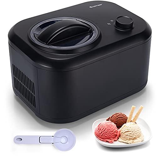 COSTWAY 1L Eiscrememaschine, 100W Eismaschine, Speiseeisbereiter 3 Modi, Yogurtbereiter Frozen Eiscreme-Bereiter mit eingebautem Kompressor, Löffel (Schwarz)