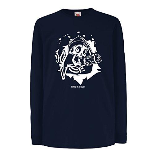 lepni.me Camiseta para Niño/Niña el cráneo con Bomba - el Tiempo está Arriba - el Tiempo es Oro (5-6 Years Azul Multicolor)