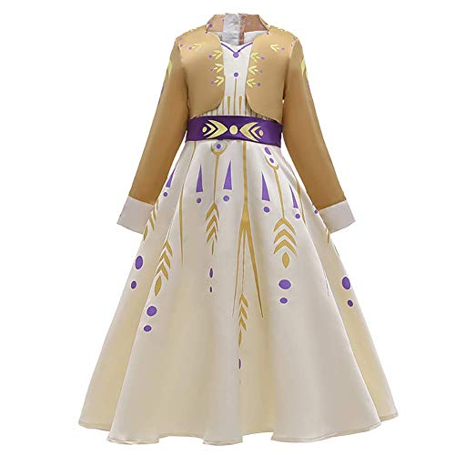 IBTOM CASTLE Prinzessin Mädchen Anna Kostüm Eiskönigin Kleid für Kinder Schneekönigin Fasching Tüll Ballkleid Cosplay Party Karneval Halloween Verkleidung Party Outfit Gelb Anna 7-8 Jahre