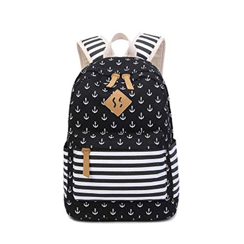 Travel Laptop Backpack Black Canvas Small Fresh handbagFits Laptop15*30 * 42cm