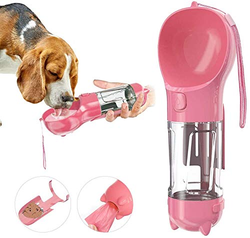 LightbyBox - Dispensador de agua portátil para perros de 300 ml, botella de agua portátil para mascotas, botella de agua de viaje a prueba de fugas con taza y pala de arena (rosa)