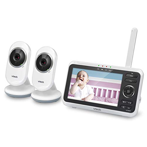 VTech VM350-2 High-Resolution, 5-inch Screen Video Baby Monitor with 2 Cameras- 2 Way Talk, Night Vision, Soothing Sounds and Lullabies