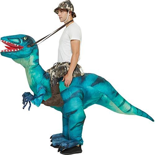 Disfraz de Cosplay de Yehapp, traje divertido de Halloween para adultos, disfraz de dinosaurio de lujo inflable, disfraz de Velociraptor para montar