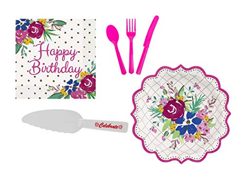Pioneer Woman Birthday Party Supplies for 12 Guests - Plates, Cutlery, Napkins, Cake Cutter