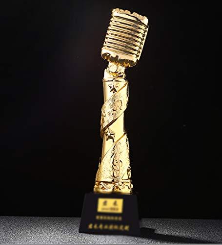 DZWWX Aangepaste Trofee Microfoon Trofee Vergulde Hars Lettering Trofee Bedrijf Jaarlijkse Evenement Activiteit Competitie Trofee Prijs Gift