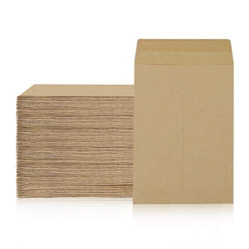 100 Packs Coin Seed Envelopes Kraft Small Parts Packets Envelopes Self Sealing Stamps Storage for Home, Office, Garden or Wedding Use (3.23×4.53 Inch)