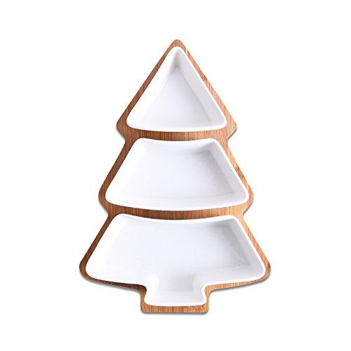28 cm conjunto completo de cerámica de bambú árbol de navidad bandeja...