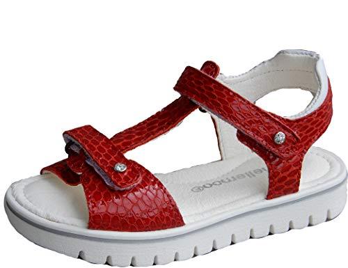 ennellemoo®-Kinder-Mädchen-Sandalen- Echt Leder-Schuhe-Klettverschluss-Volllederschuhe, Weiche, biegsame Sohle!Barefoot Feeling. (33, Mohnblumenrot)