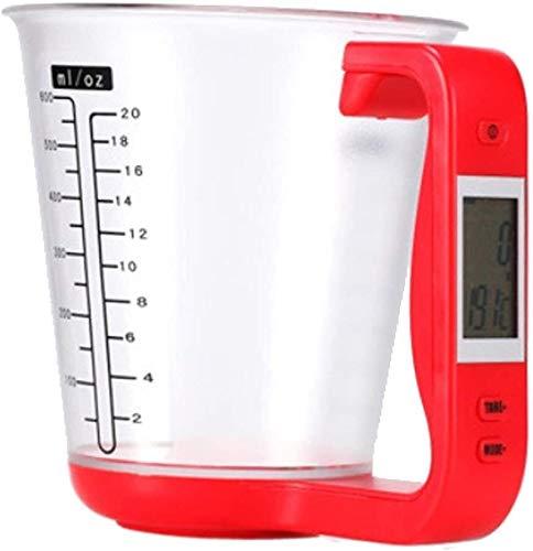 XINGDONG Tazas de medición Digitales, Escamas de la Cocina de la Copa de medición electrónica Herramienta de Escala de precipitados Digitales con Pantalla LCD Durable (Color : Red)