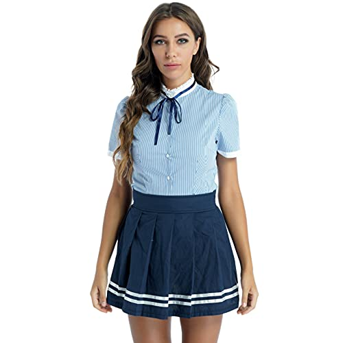 YUUMIN Cosplay Completi da Scuola per Donna Uniforme JK Scolastica Giapponese Cosplay Indossare 3PCS Camicetta + Minigonna a Pieghi Outfits Blu XXL
