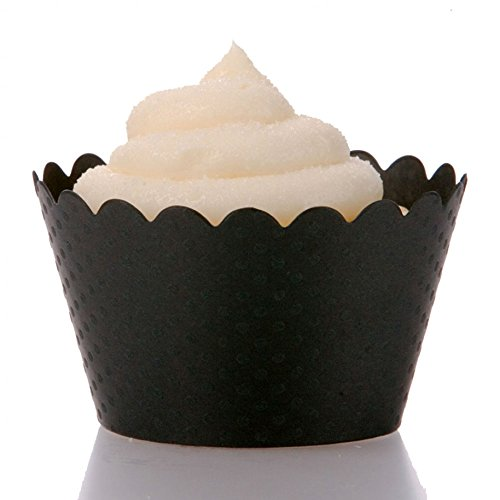 Dress My Cupcake Standard Black Cupcake Wrappers, Set of 50