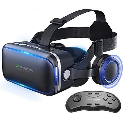 Honggu VR Shinecon, VR Headset, 3D-Brille, virtuelle Realität, Headset für VR Spiele und 3D-Filme, Pack mit Fernbedienung