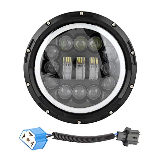 KIMISS 9-30V Linterna de LED fundida a troquel de aluminio Linterna LED redonda de 7 pulgadas y 400 vatios ojos de Angel JK TJ LJ CJ H1 H2